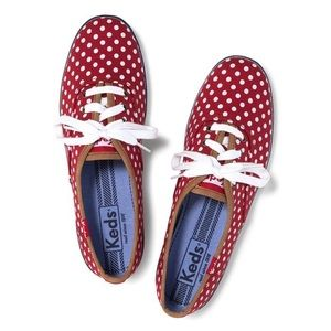 Keds Red Champion Polka Dot Sneakers (Oxford)